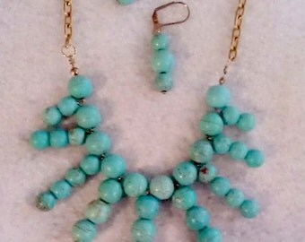 Statement necklace and earrings. Turquoise Magnesite beads. Antique gold tone aluminum chain. FREE SHIPPING.