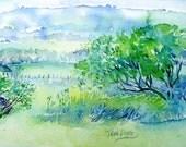 View through the Gap  -Wicklow   - Original Watercolour - Ireland Landscape-