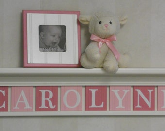 Baby Gifts for Girl Personalized Sign Nursery Wall Decor - White Shelf with Wood Letter in Light Pink and Pink