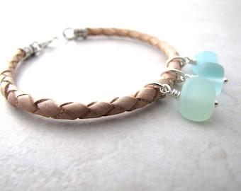 Seaglass Sea Glass Bracelet Aqua Leather Sea Sand Beach Ocean BellinaCreations Bellina Creation