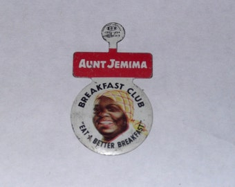 Aunt Jemima Breakfast Club Tin Litho Pinback Premium