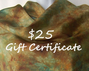 Gift Certificate - 25 USD - the perfect gift when you can't decide - yarn for the knitter, scarves for that special lady