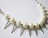 Rocker Pearl Spike Necklace
