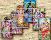 Gods of India 1 x 2 inches Domino Tiles Pendant Bezels Jewelry Krishna Vishnu Garuda Shiva Asia Digital Collage Sheet Download 180