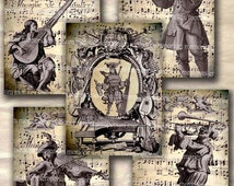 Musicians Music Antique Musical Instruments Shabby Chic Orchestra Score Decoupage ACEO ATC Collage Sheet Printable Download 215