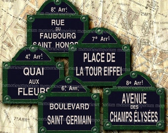 Shabby Chic Paris Vintage Street Signs 2 x 2 inches Old French Rues Boulevards Avenues Digital Collage Sheet Instant Download 181
