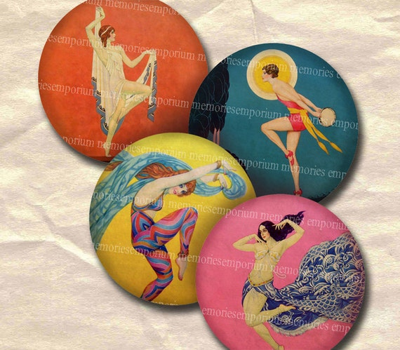 Art Deco French Dancers Decoupage Circles 2.5 Inches 1920s 20s Twenties Dance Showgirls Ballet Cabaret Digital Collage Sheet Download 096