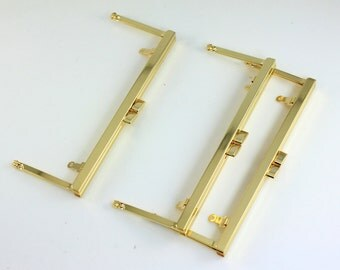 6 3/4 inches (17cm) - Shiny Golden Open Channel Clutch Frame with Chain Loops - 10 Pieces