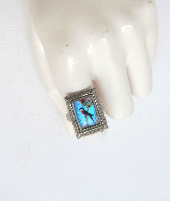 Vintage mid century Exquisite hand painted red robin on butterfly wing dress ring