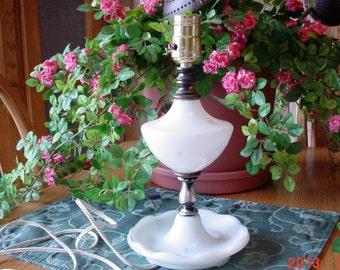Vintage Starburst Milk Glass Electric Lamp