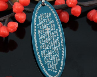 Blue Oval Tag Stainless Steel Pendant