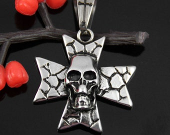 Skull Cross Stainless Steel Pendant-009