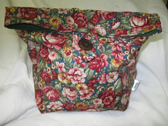 Recyclable Lunchbag or Lunchsack Bue Red Floral Reversable All Cotton Reusable lunchbag or Go Green lunch sack