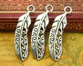 10 pcs Silver Feather Charms 38x10mm CH1325