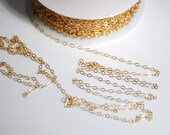 14K gold filled flat cable chain for jewelry making, 1.5mm X 2mm link, 5 feet