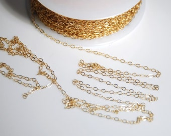 14K gold filled chain, flat cable chain for jewelry making, 1.5mm X 2mm link, 20 feet