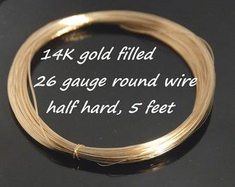 26 gauge 14K gold filled round wire, half hard, 5 feet