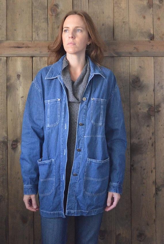 blue denim oversized shirt jacket / M L
