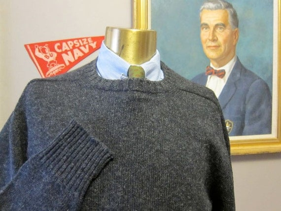 Made in Scotland Shetland Charcoal Gray Sweater Large Tall by Lands End 42-44