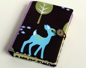RESERVED FOR ALISON - Quilted Mini Notepad, Mini Notebook, Mini Organizer - Brown, Lilac and Blue, Cute Deer