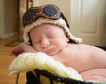 0 - 3 month Crocheted 2 IN 1 Aviator Hat leather like goggles Crochet Hat Baby Aviator Hat Baby Boy Aviator Hat