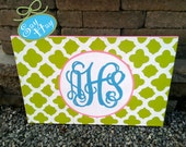 "24x36"" Monogrammed Canvas Hand Painted in Print of Your Choice"