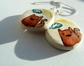 Hand drawn & painted clay earrings: Squirrel
