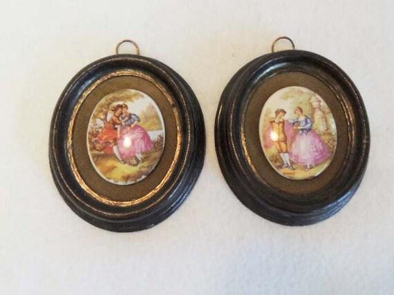 Pair Vintage Plaques, Porcelain Cabachon Romantic Scenes, Cast Metal Frames, Hollywood Regency.. Fragonard