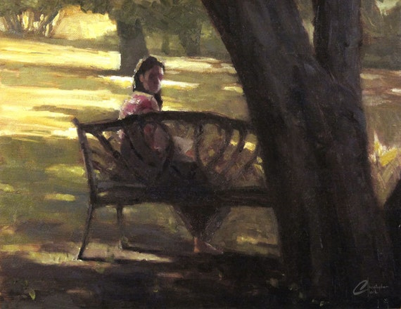 The park bench original oil painting for sale by artist for Original oil paintings for sale by artist