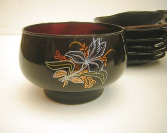 Vintage Unused Glass Tea Set Cups, Saucers, Sugar Bowl, Floral Design