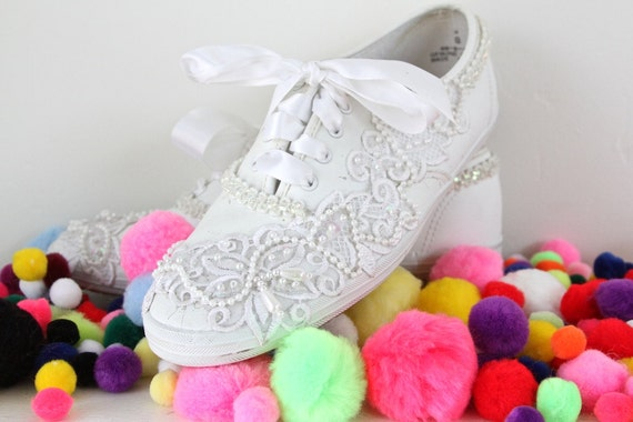 pop icon 90s bedazzled tennis shoes