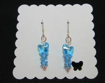 Sterling Silver Aqua Swarovski Butterfly and Bicone Earrings