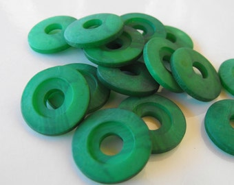 """16 Green Washed Washers Round Buttons Size 3/4"""""""