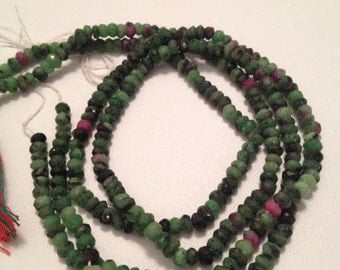 Ruby Zoisite Faceted Rondelles-4mm