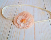 P E A C H E S - Light Coral Peach Beaded Fabric Flower Ivory Stretch Newborn Infant Baby Child Headband, Photography Prop