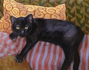 Black cat reclines on sofa back with pillows, in oil painting on stretched canvas. Pet commissions available