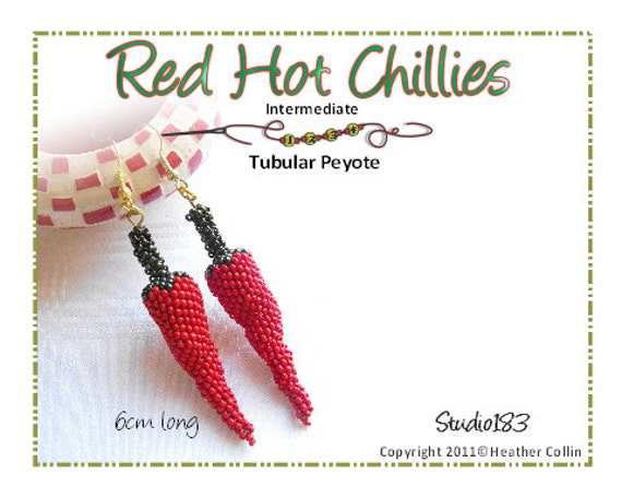 Beading Pattern, Instructions, Tutorial, Peyote Stitch Small Chilli Earrings Tutorial Instant Download RED HOT CHILLIES