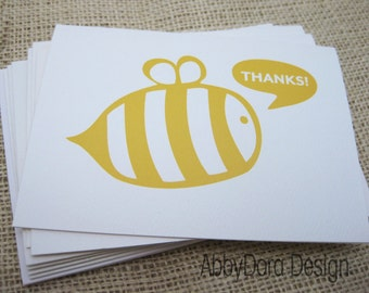 Thank You, Bumble bee, Yellow, Bee Art, Note cards - Set of 6