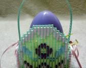 Green Plastic Canvas Egg Easter Basket