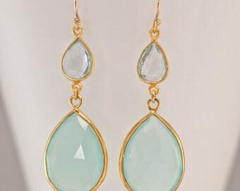 Aqua Blue Chalcedony Earrings - Blue Topaz earrings - Gemstone Earrings - Long Drop Earrings - Gold Earrings