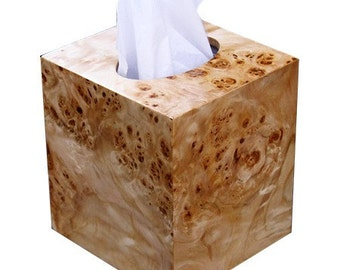 Tissue cover cube  size, boutique Tissue box holder fits Kleenex and Puffs brand in Mappa burl wood veneer