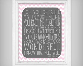 "Bible Verse ""You Knit Me Together"" Psalm 139 Scripture Verse Art Print  - Choose from Pink or Blue - Select your size!"