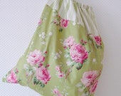 Shabby Chic Laundry Bag. Lingerie Bag. Nostalgic Roses and Ticking Stripe. Cath Kidstonesque. Green. Pink. Drawstring Bag - PeriDotbyDuni
