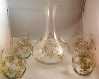 Wine Decanter set - Hand Painted  White Dogwoods