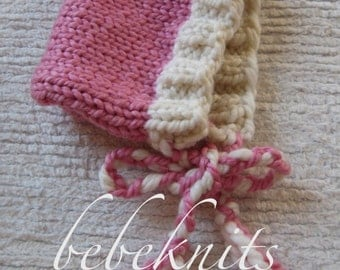 Hand Knit Pink and White Baby Pixie Hat