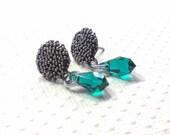 Post Earrings, Swarovski Emerald Crystal Elements, Green Earrings, Antique Pewter Studs, Stud Earrings, Women's Jewelry