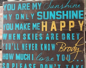 You Are My Sunshine Wall Art Sign on Wood or Canvas for Any Nursery Room and Decor
