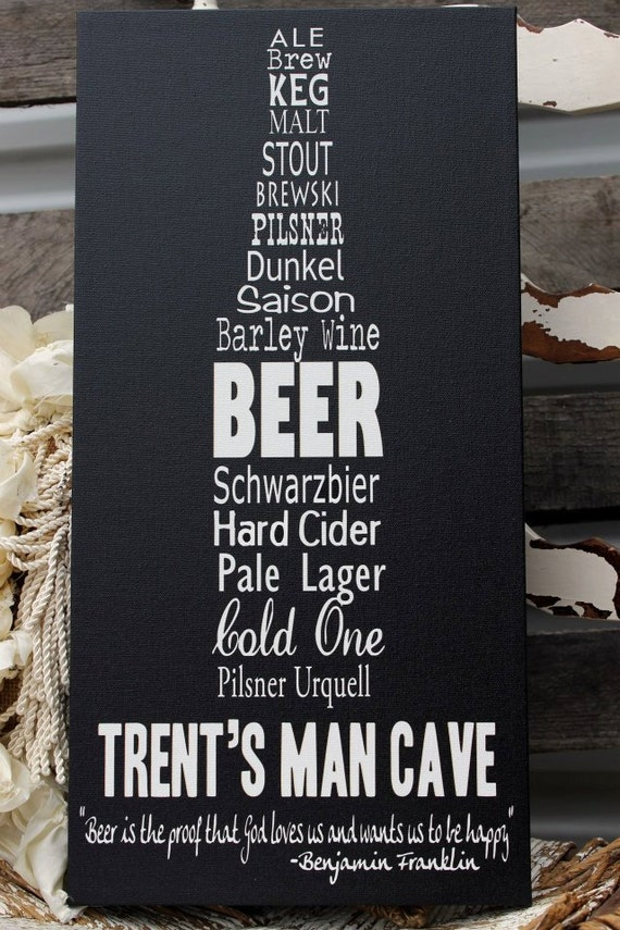 Man Cave Canvas Signs : Items similar to personalized man cave sign on canvas or