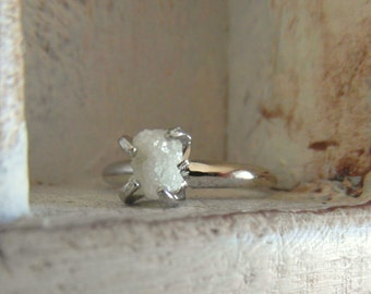 14kt white gold-snow white- raw rough uncut diamond - solitaire-promise- engagement ring- made to order