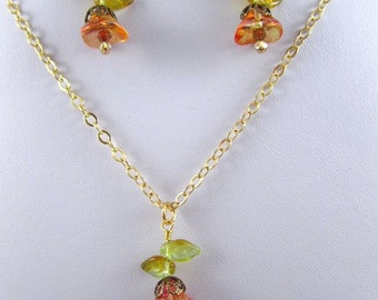 Close out, Hummingbird Flower Necklace Set Fushia Lemon Gold Under 10 Gift, young girl jewelry, bird and flower, spring